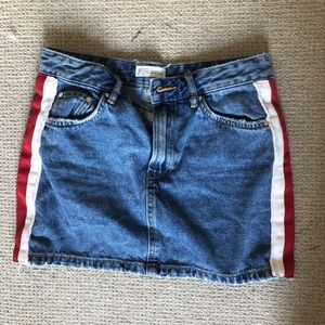 Zara ribbon denim skirt size small